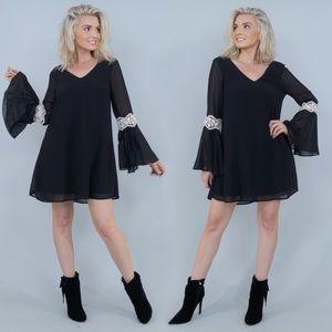 Black Long Sleeve Flirty Party Dress